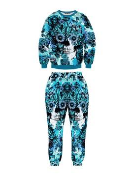 Floral 3D Decoration Skull Long-Sleeve Blue Men's Sweatshirt Sets