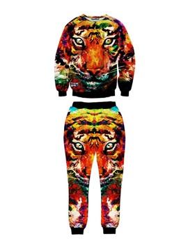 Rainbow Colorful Lion Face Personality Long-Sleeve Men's 3D Sweatshirt Sets