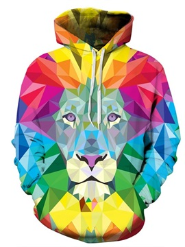 Long Sleeve 3D Pattern Colorful Lion Face Couple Hoodie