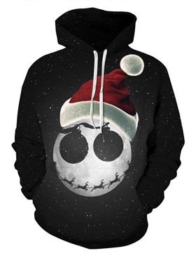 Santa Claus Moon Black Night Sky Long Sleeve Pattern 3D Painted Hoodie