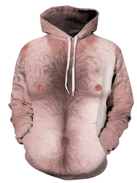 3D Pattern Soft Personalized Simulation Chest Hair Long Sleeve Spandex Hoodie