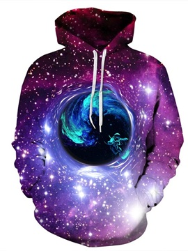 3D Pattern Soft Galaxy Universal Dream Wonderful Land Couple Long Sleeve Hoodie