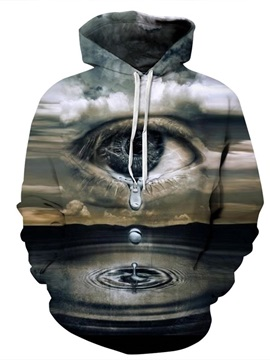 Spandex Earth Water Person's Tear 3D Pattern Soft Personalized Couple Hoodie