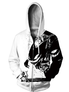 3D Print Big Pockets Monster Black White Zipper Hoodies