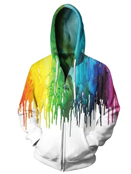 3D Print Big Pockets Coloful Water Drop Zipper Hoodies