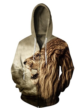 3D Lion Roar Face Print Big Pockets Zipper Hoodies