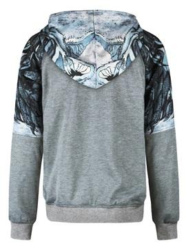 Leaves Grey Long Sleeve 3D Pattern Men's Hoodie