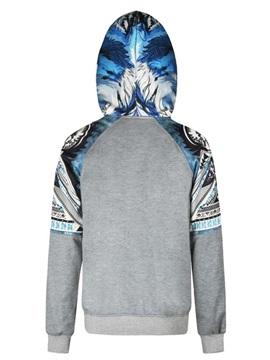 Blue Leaves Long Sleeve 3D Pattern Men's Hoodie