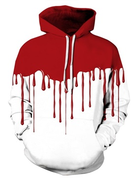 Long Sleeve White Background Red Falling 3D Halloween Pattern Hoodie