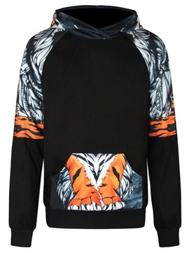 Long Sleeve Stripe Tiger Pattern 3D Painted Hoodie