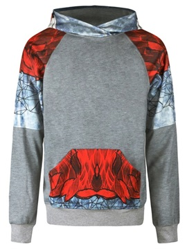Red Color Block Long Sleeve 3D Pattern Men's Hoodie