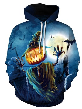 Long Sleeve Halloween Scarecrow Pumpkin 3D Pattern Hoodie