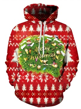 Long Sleeve Merry Christmas Red 3D Pattern Hoodie