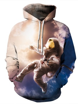 Astronaut Fly in the Sky Long Sleeve 3D Pattern Hoodie