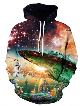 UFO Below the City Long Sleeve 3D Pattern Hoodie