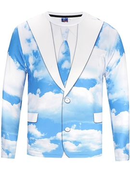 Suit Sky Long Sleeve Round Neck 3D Painted T-Shirt
