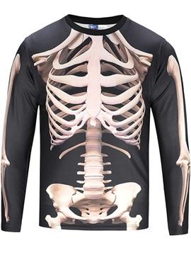 Black White Skeleton Long Sleeve Round Neck 3D Painted T-Shirt