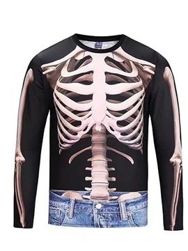 Skeleton with Jeans Long Sleeve Round Neck 3D Painted T-Shirt