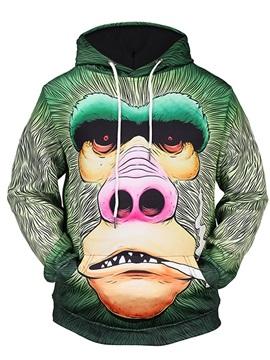 Orangutan Funny Green Long Sleeve 3D Pattern Hoodie
