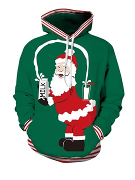 Long Sleeve Santa Eating Milk Christmas Pattern 3D Painted Hoodie