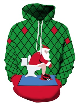 Santa Toilet Bathroom Christmas Long Sleeve 3D Pattern Hoodie