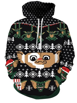 Long Sleeve Bat and Elves Christmas Pattern 3D Painted Hoodie