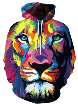 Colorful Tiger Face Long Sleeve 3D Pattern Hoodie