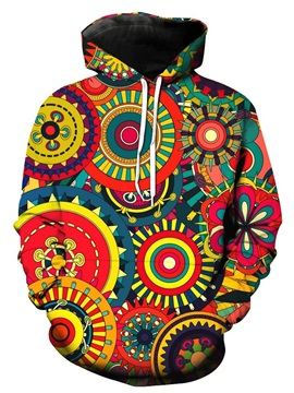 Boho Style Colorful Circle Long Sleeve 3D Pattern Hoodie