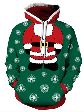 Christmas Santa and Snowflake Long Sleeve 3D Pattern Hoodie