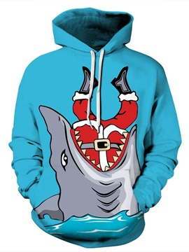 Shark Eat Santa Christmas Long Sleeve 3D Pattern Hoodie