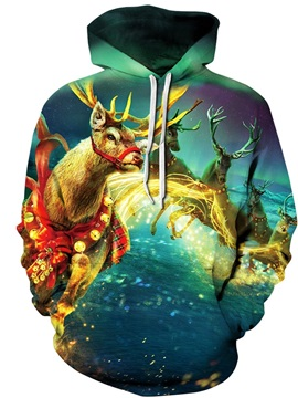 Christmas Fantasy Deer Pattern Long Sleeve 3D Pattern Hoodie