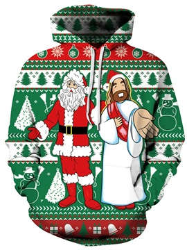 Godfather and Santa Christmas Long Sleeve 3D Pattern Hoodie