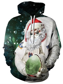 Long Sleeve Christmas Santa Claus Astronaut Pattern 3D Painted Hoodie