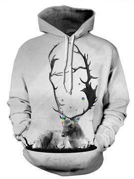 3D Grey Deer Colorful Tear Pattern Men Sweater Long Sleeve Cool Hoodies