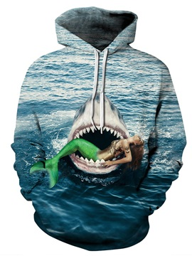 3D Shark Bite Mermaid Pattern Men Sweater Long Sleeve Cool Hoodies