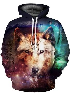 3D Galaxy Wolf Pattern Men Sweater Long Sleeve Cool Hoodies