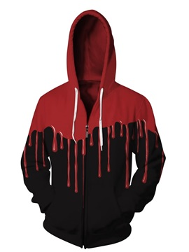 3D Red Falling Black Back Pattern Men Sweater Long Sleeve Zipper Cool Hoodies