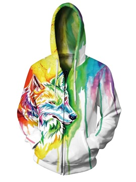 Unique Long Sleeve Colorful Wolf Pattern 3D Painted Hoodie