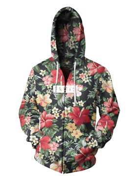 Long Sleeve Floral Pattern Zipper 3D Painted Hoodie