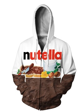 3D Nutella Pattern Men Sweater Zipper Long Sleeve Cool Hoodies