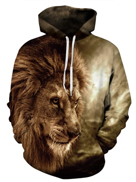 3D Lion Pattern in the Forest Men Sweater Long Sleeve Cool Hoodies
