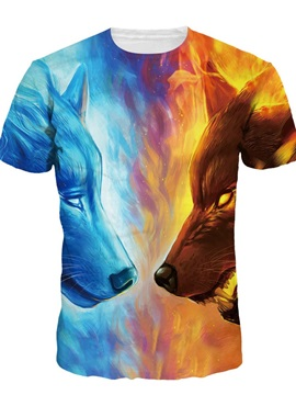 Blue Red Fire Wolf Short Sleeve Round Neck 3D Painted T-Shirt