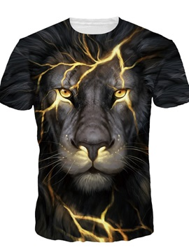 Lion Face With Light Short Sleeve Round Neck 3D Painted T-Shirt