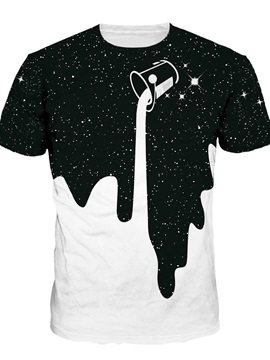 Milk Falling Down Short Sleeve Round Neck 3D Painted T-Shirt