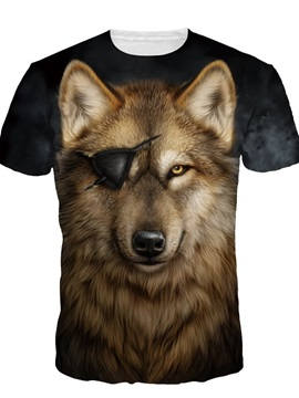 Cool Wolf with One Eye Short Sleeve Round Neck 3D Painted T-Shirt