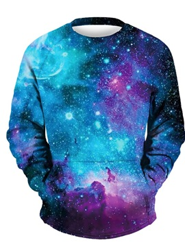 Unique Long Sleeve Blue Galaxy Pattern 3D Painted Hoodie