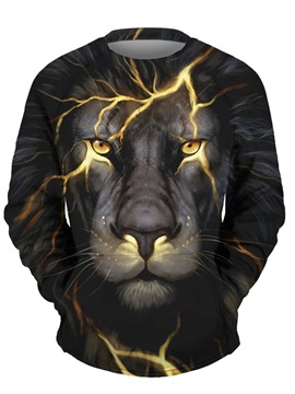 3D Lion with Light Men Sweater Round Neck Cool Hoodies Black