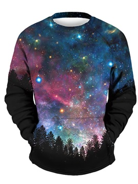 Unique Long Sleeve Galaxy Forest Night Pattern 3D Painted Hoodie