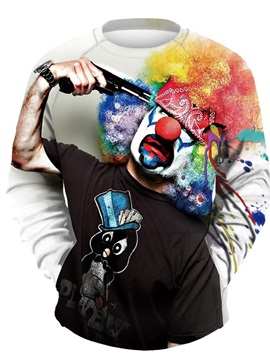 3D Clown with Gun Men Pullover Sweater Round Neck Cool Hoodies