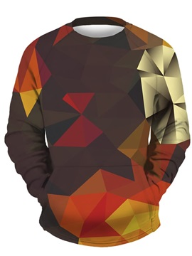 3D Red Square Shape Men Sweater Round Neck Cool Hoodies